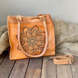 HAND TOOLED SUMMER TOTE BAG