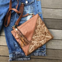 HIDE CARVED ROSE DAY BAG