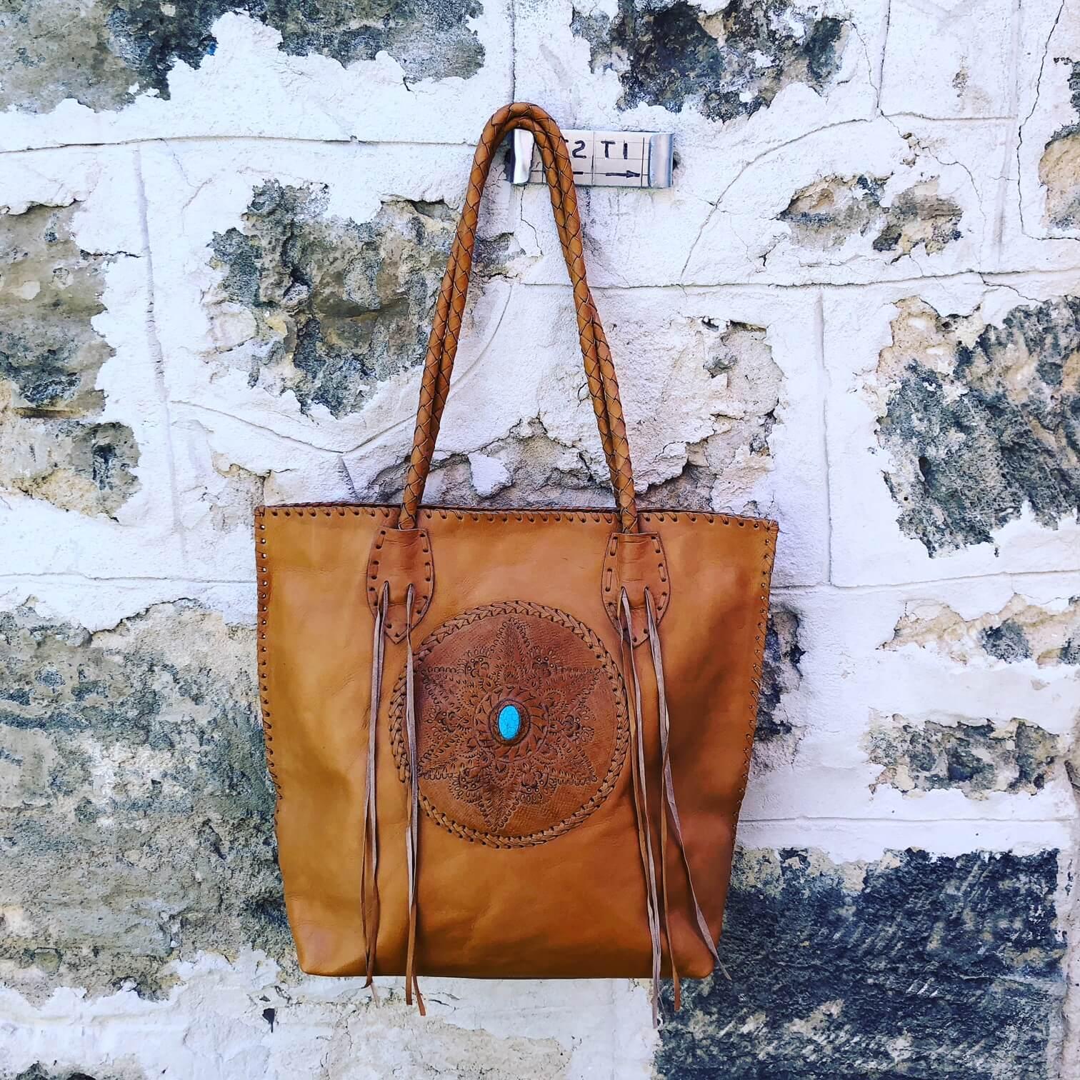 STITCH & TASSEL STONE BAG