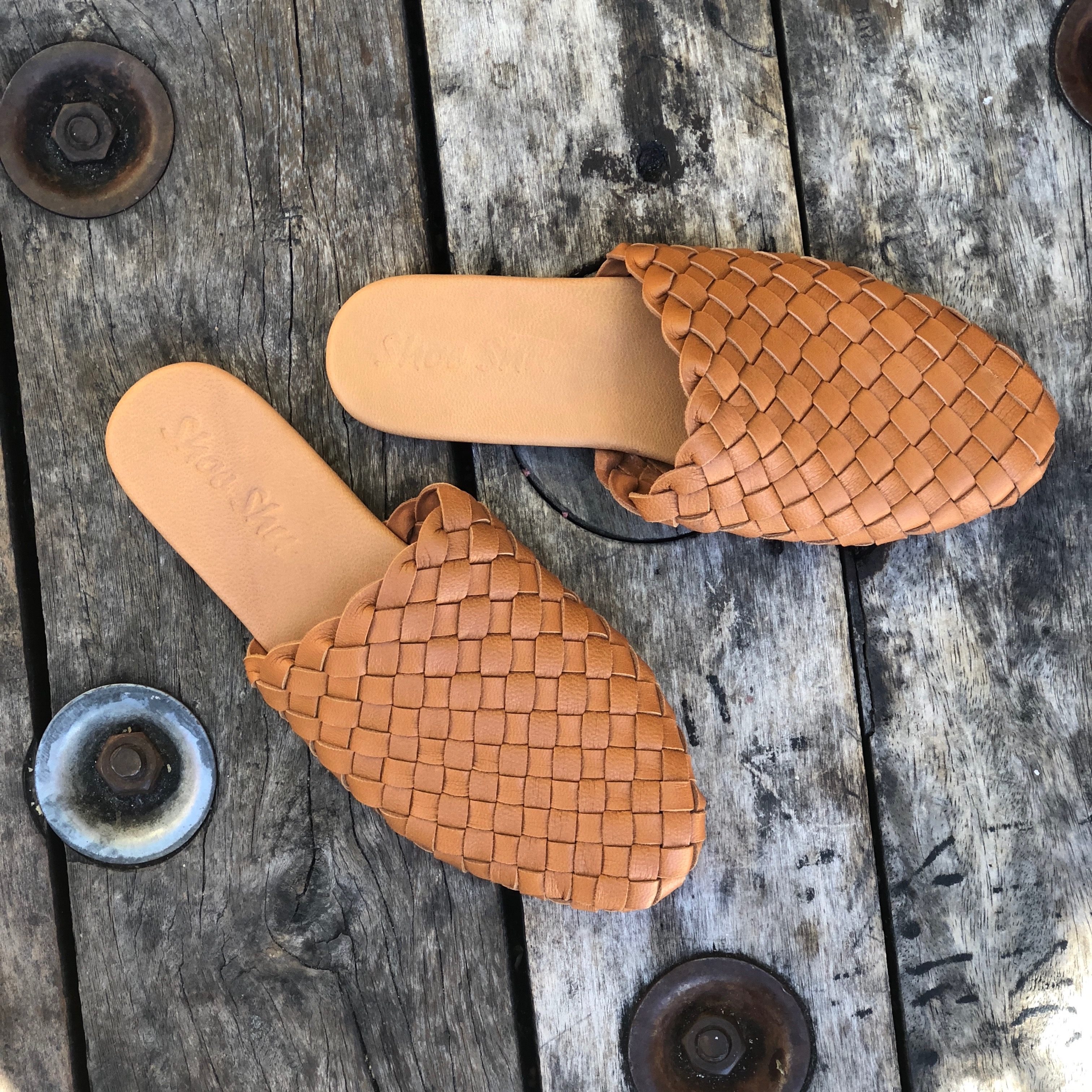 New Womens Leather Woven Loafer Slide Footwear Shoes Ebay