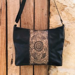HAND TOOLED BOHO SUNFLOWER BAG