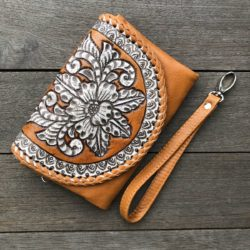 HAND TOOLED FLOWER & STITCH PURSE