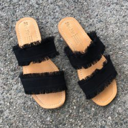 DENIM DOUBLE FRINGE SLIDES