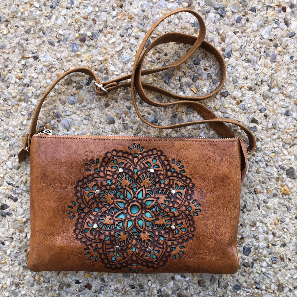 HAND TOOLED SUMMER PURSE BAG