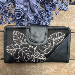 HIDE CARVED ROSE SMALL WALLET