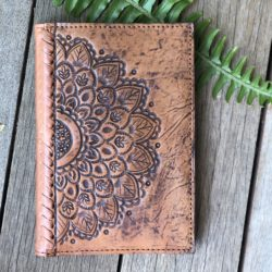 HAND TOOLED MANDALA & STITCH PASSPORT WALLET