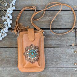 HAND TOOLED SUMMER ZIP ROUND PHONE WALLET BAG